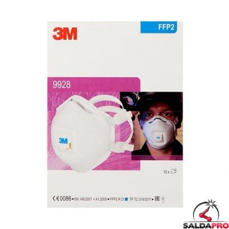 confezione mascherina monouso per saldatura 3M 9928 FFP2