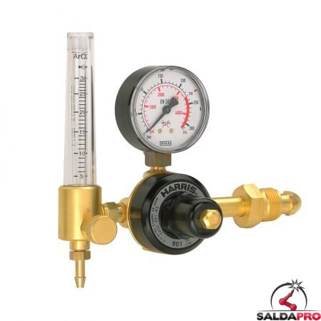 Riduttore di pressione monostadio con flussometro per argon argon/CO2 Harris modello 801