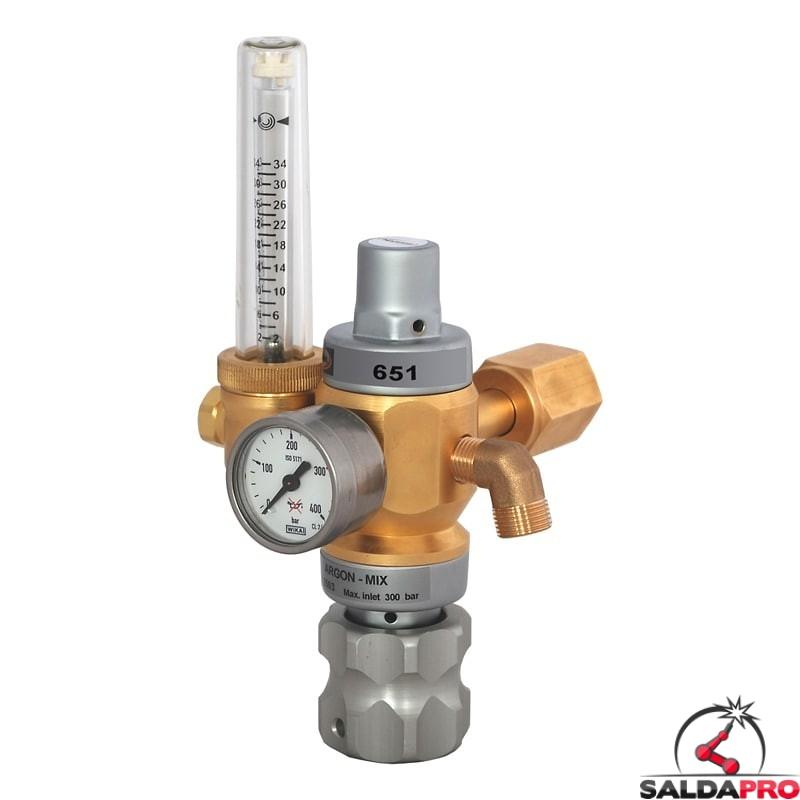 Riduttore di pressione a doppio stadio con flussometro per Argon/H2 Harris modello 651 20 Lpm