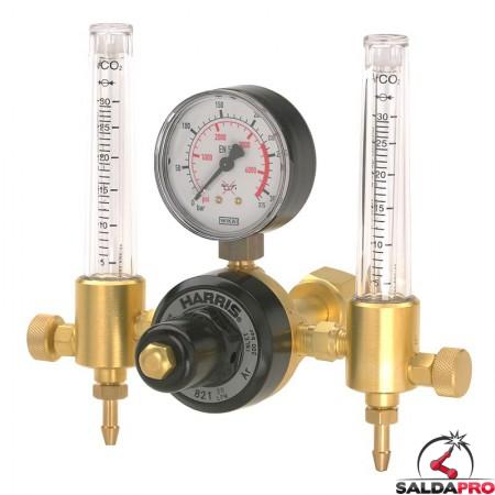 Riduttore di pressione argon Harris modello 801 a due manometri