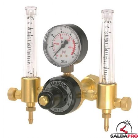 Riduttore di pressione argon Harris modello 821 a due manometri 821Z027