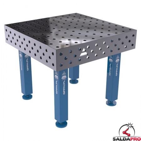 Banco modulare per saldatura SteelMax GPPH 1x1mt in acciaio rinforzato, fori 28mm