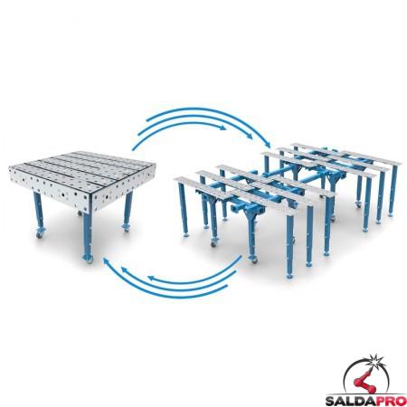 trasformazione tavolo per saldatura modular aperto chiuso