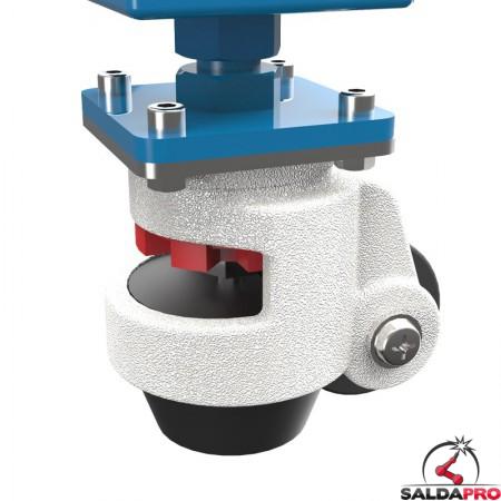dettaglio piede con ruota tavolo per saldatura modular