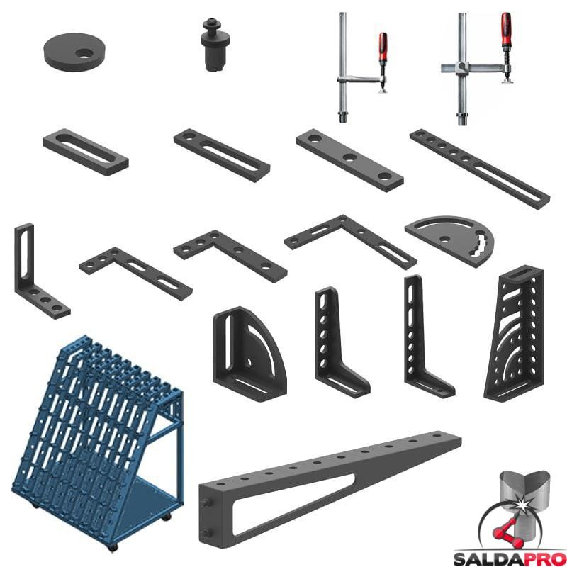 Set di accessori di serraggio 109 pezzi per tavoli saldatura GPPH