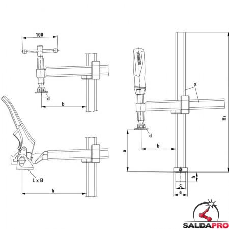 schema tecnico morsetto di fissaggio a vite fisso foro 28mm per tavoli saldatura
