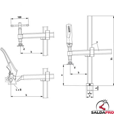 schema tecnico morsetto di fissaggio a leva profondità variabile Bessey