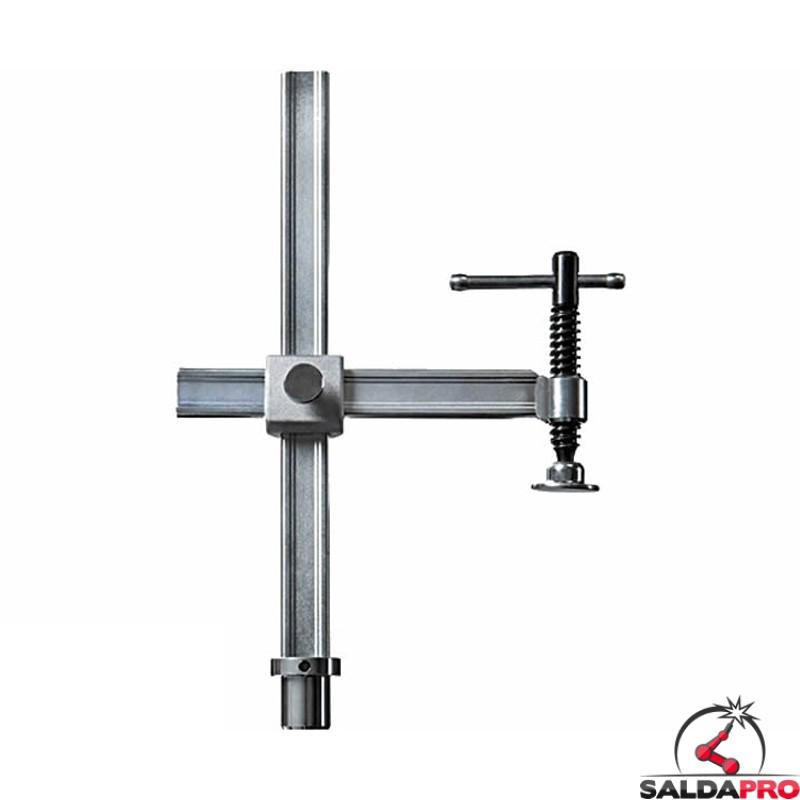 Morsetto di fissaggio a traversino scartamento variabile foro 28mm per tavoli saldatura