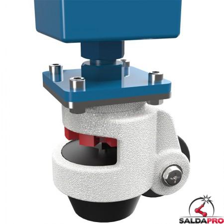 dettaglio gambe con ruote tavolo saldatura SteelMax GPPH