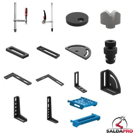 Set di accessori di serraggio 58 pezzi per tavoli saldatura SteelEco GPPH, fori 16 mm