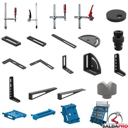 Set di accessori di serraggio 93 pezzi per tavoli saldatura SteelEco GPPH, fori 16 mm