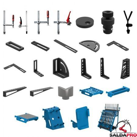 Set di accessori di serraggio 146 pezzi per tavoli saldatura SteelEco GPPH, fori 16 mm