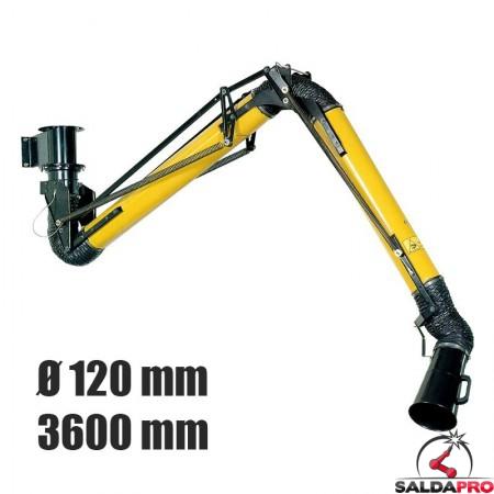 braccio aspirante Aspirex 1 Ø120mm lunghezza 3600mm saldatura Dalpitech