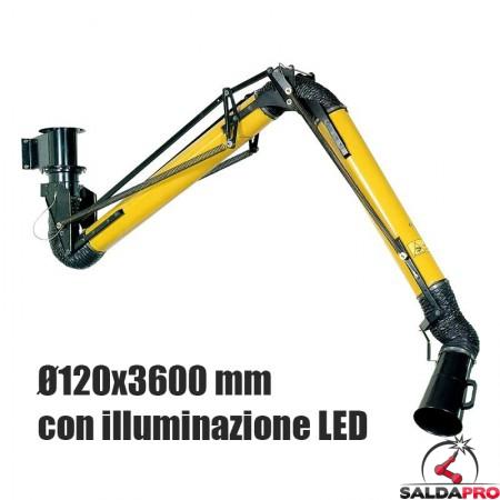 braccio aspirante Aspirex 1 Ø120mm lunghezza 3600mm Dalpitech con luce LED