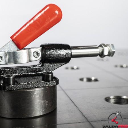 dettaglio morsetto a levaorizzontale scartamento fisso per tavoli saldatura 28mm