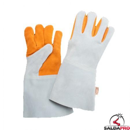 Guanti protettivi in pelle crosta Z105/15 per saldatura con palmo e dita rinforzate