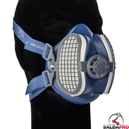 dettaglio respiratore a semimaschera GVS SPR591 con filtri e custodia