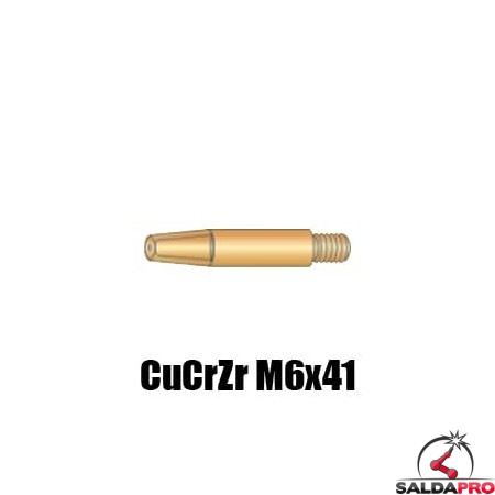 Punte guidafilo CuCrZr M6x41 Ø 0,8-1,6 per torce AWK250 CWK300 - (10pz)