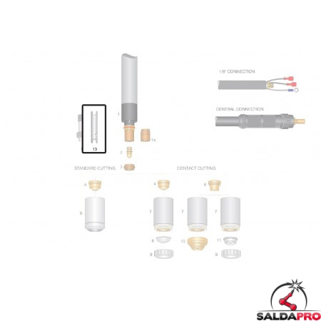 dettaglio chiave per elettrodo ricambio torce plasma cebora lincoln ews trafimet