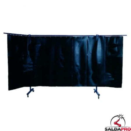 Parete protettiva a 3 pezzi Arroweld con tenda a lamelle per saldatura 380x183 cm