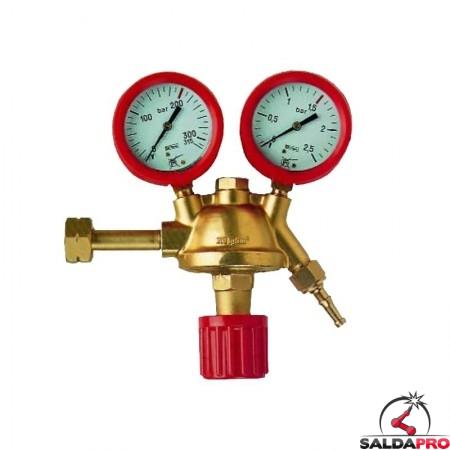 Riduttore di pressione per idrogeno in ottone con manometri