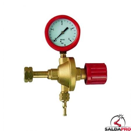 Riduttore di pressione per propano in ottone con manometro