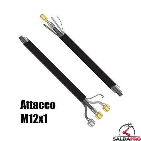 Pacco cavi attacco M12x1 per torcia WP-20 saldatura TIG