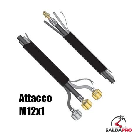 Pacco cavi attacco M12x1 per torcia WP-18 saldatura TIG