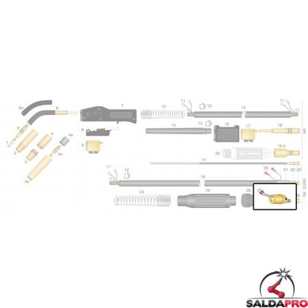 Dettaglio corpo torcia di ricambio per torcia TW - TRF MAX attacco EURO