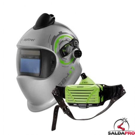 Maschera da saldatura e684 DIN 5-13 con sistema PAPR e3000 Optrel