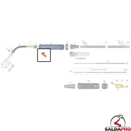 dettaglio ricambio pulsante interruttore standard per torce bz cebora tynos