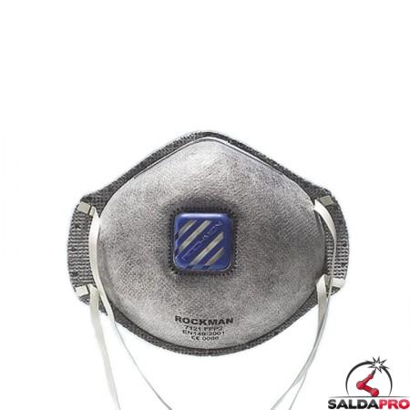 mascherina monouso a guscio con valvola filtro ffp2 strato carbonio protezione vie respiratorie
