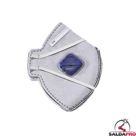 mascherina pieghevole monouso valvola filtro ffp2 strato carbonioprotezione respiratoria