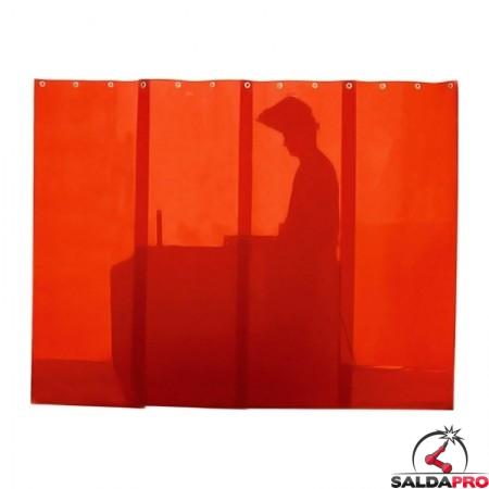 Strisce rosse protettive DIN4 57cm per schermi saldatura + ganci (4pz)