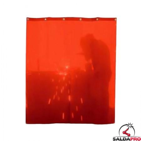tenda protettiva rossa larghezza 140cm schermi saldatura DIN4 ganci fissaggio