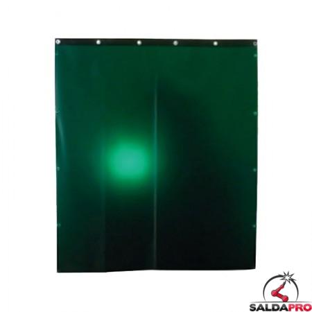 tenda protettiva verde larghezza 140cm schermi saldatura DIN9 ganci fissaggio