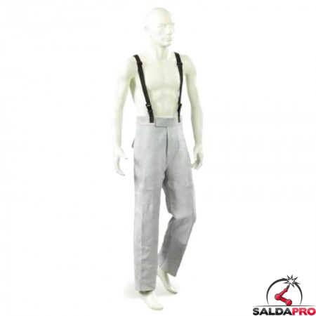 pantaloneprotettivo pelle crosta con bretelle jak-150 per saldatura