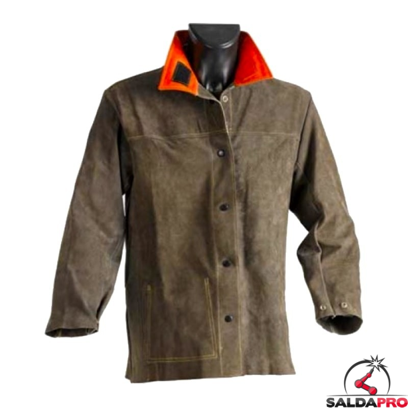 giacca protettiva pelle crosta marrone jak-158 cuciture kevlar per saldatore
