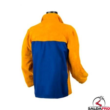 giacca protettiva in pelle crosta gialla jak-160 saldatore cuciture kevlar retro