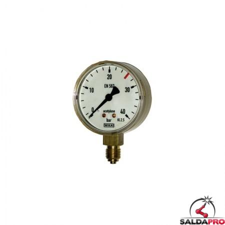 manometro misuratore  pressione acetilene ottone 40atm saldatura ossiacetilenica
