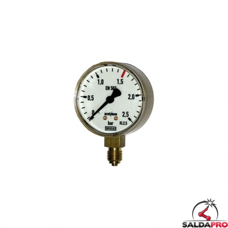 manometro misuratore pressione acetilene ottone 2,5atm saldatura ossiacetilenica