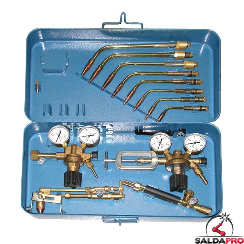 kit taglio saldatura ossiacetilenica 0,5-25 mm più riduttori di pressione ossigeno acetilene ewo