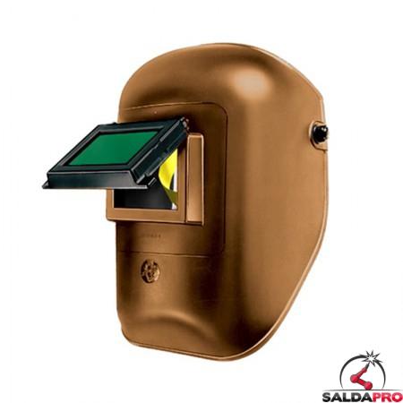 maschera protettiva saldatura casco materiale termoplastico finestra ribaltabile 75x98 vetro inattinico verde