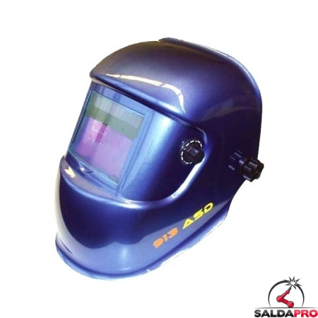 maschera saldatura protezione variabile automatica din 9-13 filtro 100x50 blu metallizzata