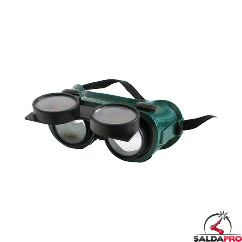 occhiale protettivi lenti 50mm ribaltabili protezione din 5 saldatura