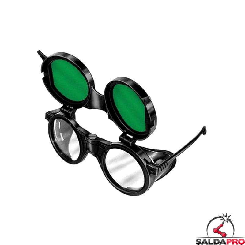 occhiale protettivi plastica lenti 50mm protezione din 5 ribaltabili saldatura protezioni laterali