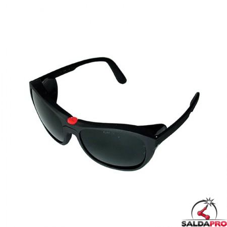 occhiale protettivi plastica lenti sagomate policarbonato din 5 saldatura protezioni laterali
