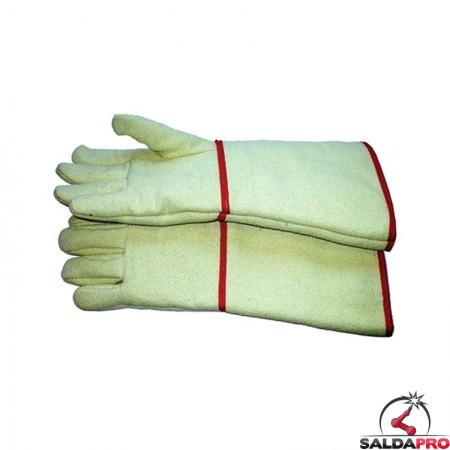 guanti protettivi anticalore fibra aramidica foderata manichetta lunga 38cm