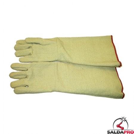 guanti protettivi anticalore fibra aramidica foderata manichetta extra lunga 48cm