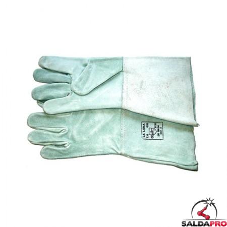 guanti protettivi pelle crosta manichetta 15cm lunghezza totale 35cm